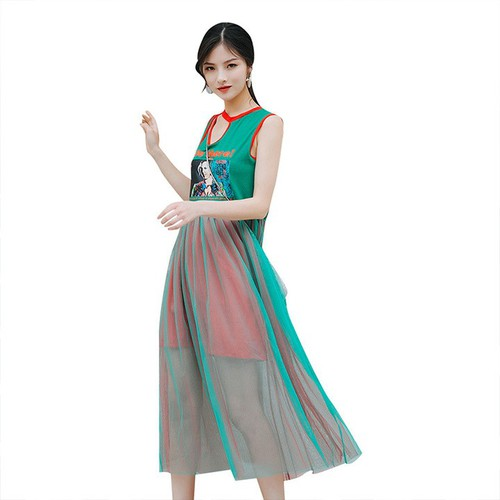 Đầm Maxi Xếp Ly Chiết Eo 5347