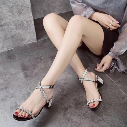 Giày gót vuông 5cm phối đá kim sa- CG231