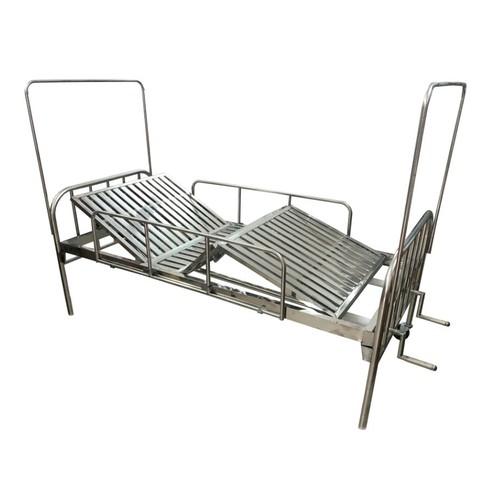Giường bệnh nhân inox 2 tay quay có bánh xe, kèm đệm + bô + ga giường