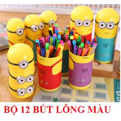 Bộ 12 bút lông màu minions dễ thương cho bé