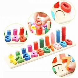 Bộ đồ chơi học chữ số kèm chơi đếm số bằng gỗ Montessori - HĐ13