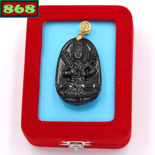 Mặt Phật Hư Không Tạng đen 3.6 cm kèm hộp nhung