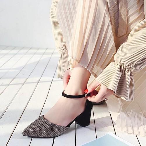 Giày cao gót đính kim tuyến - CG240