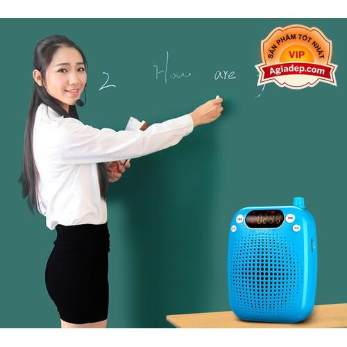 Mic + Loa trợ giảng mini chuyên nghiệp Bản ko dây Cao cấp S6 -Màu xanh + 3 Mic: mic ko dây, mic có dây, mic cúc áo