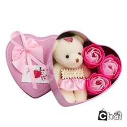 Quà valentine - Hộp quà 3 hoa hồng sáp trái tim kèm gấu bông