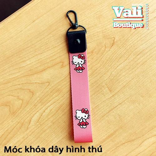 Móc khóa dây vải ngắn hình mèo Kitty - màu hồng phấn