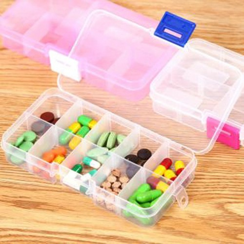 Combo 2 Dụng Cụ Đựng Thuốc, Trang Sức 10 Ngăn Bằng Nhựa