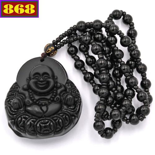 Vòng cổ Phật Di lặc đá thạch anh đen DDLD11