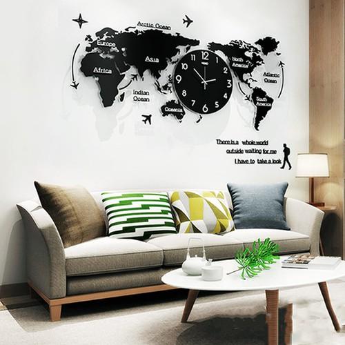Đồng hồ treo tường bản đồ thế giới