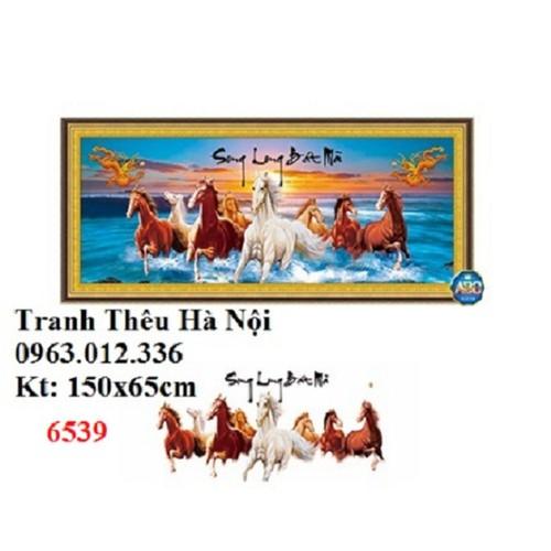 Tranh đính đá Song long bát mã DF221 150X65cm