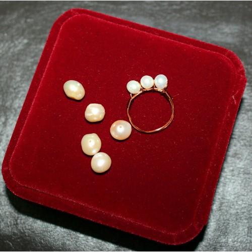 Nhẫn dây đồng mix ngọc trai handmade chỉ có ơ Sun Garden