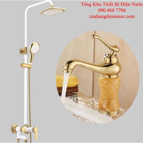 Combo sen cây tắm trắng kèm voi lavabo nóng lạnh cao cấp SC18-SNL21