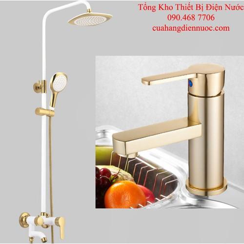 Combo sen cây tắm trắng kèm voi lavabo nóng lạnh cao cấp SC18-SNL24