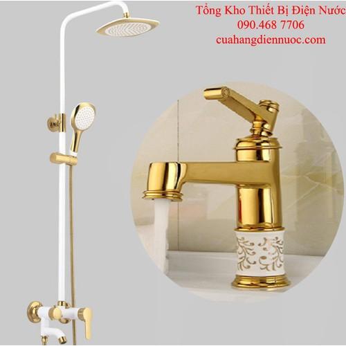 Combo sen cây tắm trắng kèm voi lavabo nóng lạnh cao cấp SC18-SNL09