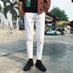 quần baggy jean trắng unisex