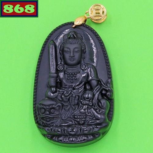 Mặt Phật Văn Thù Bồ Tát 5 cm đá thạch anh đen AB3