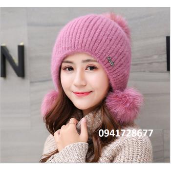 1d5609420f2 vision shop  Mũ nón len nữ hai lớp ấm áp mùa thu đông - VSNNL0106 ...