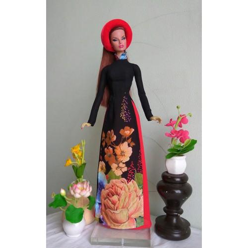 áo dài búp bê Fashion Royarty đen hoa 1 - không kèm búp bê