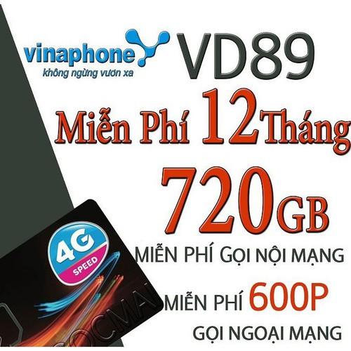 Sim 4G VD89 12T Vina 64Gb 1 tháng trọn gói 1 năm, gọi miễn phí