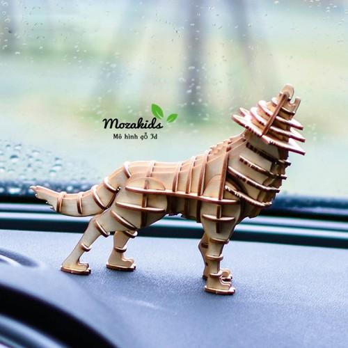 Đồ chơi lắp ráp gỗ 3D Mô hình Chó Sói Wolf Laser