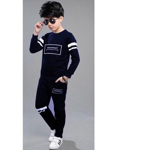 Bộ bé trai thu đông phong cách thể thao dày ấm áp hàng vnxk xanh đen