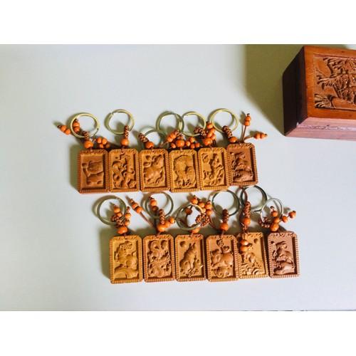 Móc khóa gỗ- móc khóa hình 12 con giáp