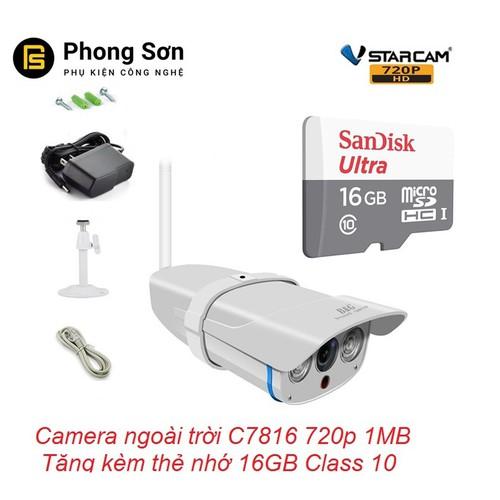 Camera ip wifi ngoài trời C7816 720p Vstarcam Tặng thẻ 16GB Class10