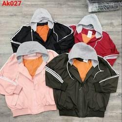 Áo khoác nữ dù 2 lớp lót màu cam nón nỉ xám tay viền 3 sọc