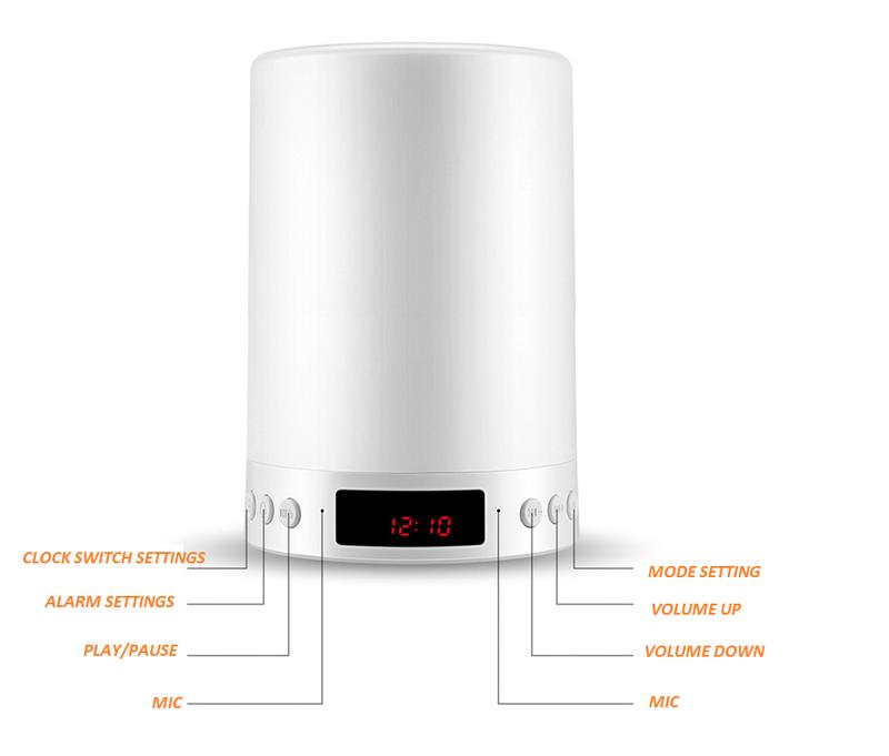 Loa Bluetooth Cao cấp hiển thị giờ kiêm đèn ngủ PKCB-66+ 10