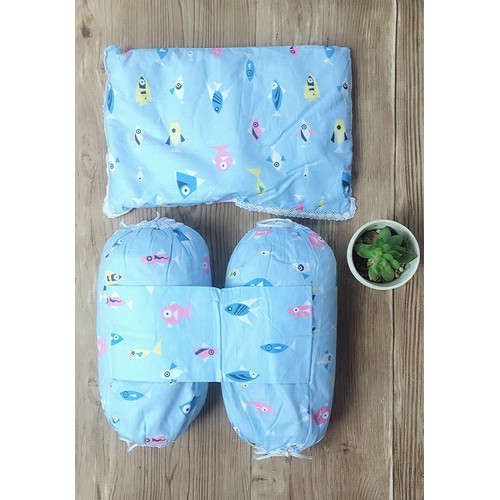 Bộ gối chặn ruột đỗ Baby 0-3 tháng màu xanh dương nhạt