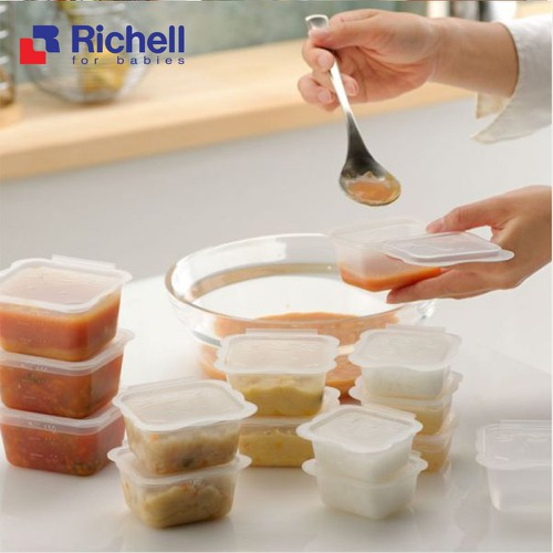 Bộ chia thức ăn Richell của Nhật Bản 50ml - 10 chiếc Chính hãng