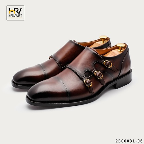Giày da nam Monk Strap Handmade Limited màu Coffee APCN 2B00031-06