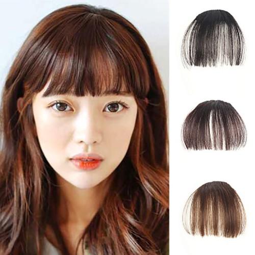 Tóc mái thưa giả kiểu Hàn Quốc màu nâu ánh đỏ