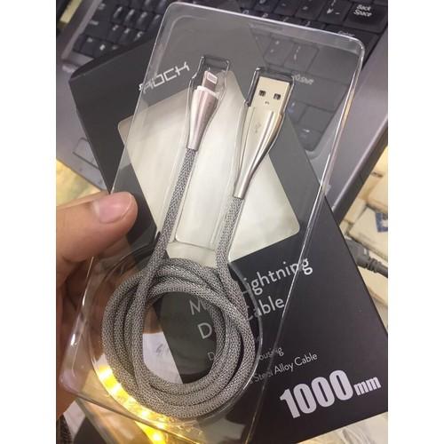 Dây sạc Iphone - Ipad hãng ROCK Cao cấp dài 30cm - Đầu bọc hợp kim