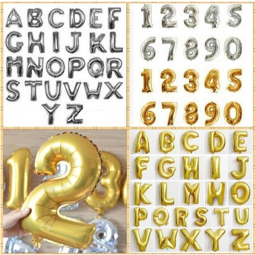 2 chữ cái hoặc số bong bóng kiếng màu bạc vàng đồng tự chọn sinh nhật