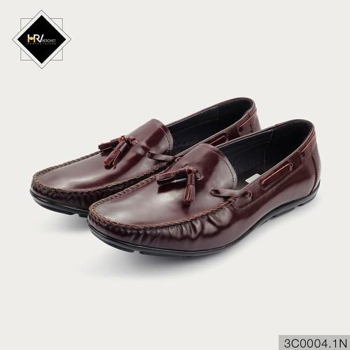 Giày lười nam thời trang da thật màu nâu bóng APCN 3C0003.1N