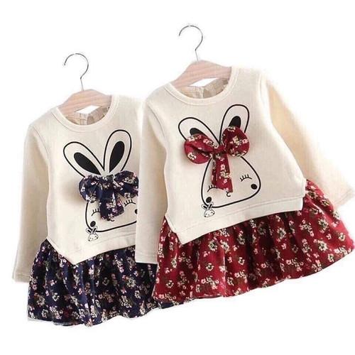 Váy cotton CỘC tay mùa hè hình nơ tai thỏ cho bé gái 1-6 tuổi_HẾT váy DÀI tay