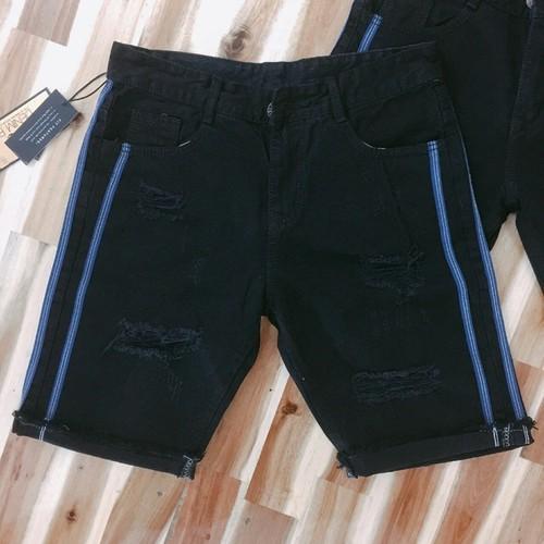 Quần jeans rách lai thả đen sọc xanh