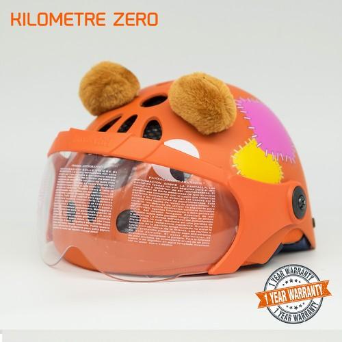 Mũ Bảo Hiểm Thể Thao Trẻ Em XPRO X120 Hình Gấu Có Kính Mẫu Gấu Cam