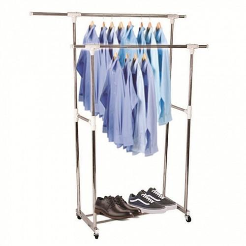 Giàn phơi quần áo đôi lắp ráp 2 tầng inox cao cấp