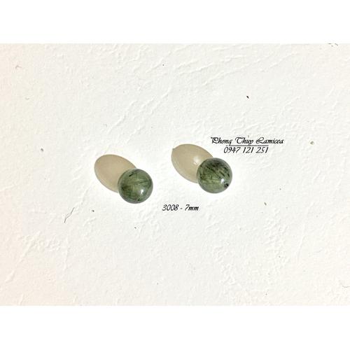 |Nguyên liệu đá| Thạch anh tóc xanh 7mm