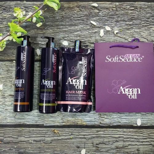 Bộ gội xả ủ Softseduce argan oil phục hồi mềm mượt 500ml