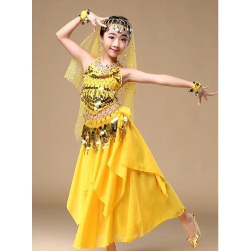 Trang phục belly dance múa bụng dạng váy kèm dây chuyền