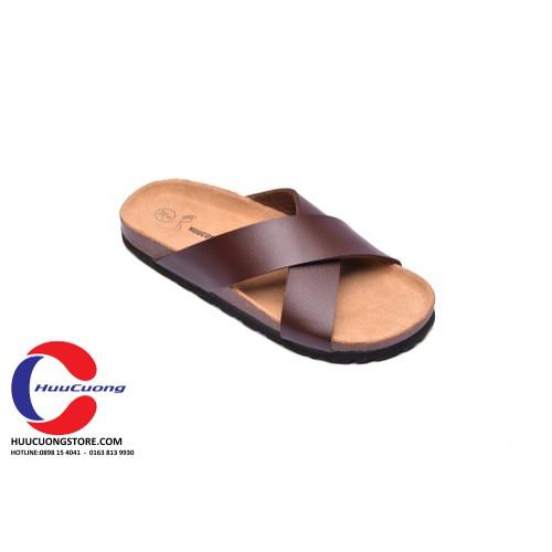 Dép sandal unisex  hai khóa quai PU đế trấu