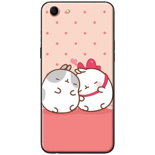 Ốp lưng nhựa dẻo Oppo A83 Đôi thỏ ngủ