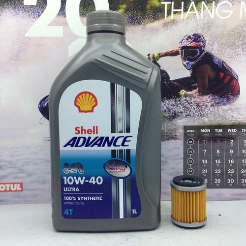 Nhớt Shell Ultra 10W40 1L và lọc nhớt Yamaha Exiter
