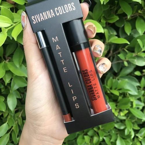 Set son kem lì Sivanna Colors Matte Lips Thái Lan No.09 Cam gạch đậm
