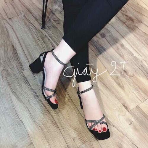 Giày sandal cao gót 5cm quai chữ X gót dây chéo