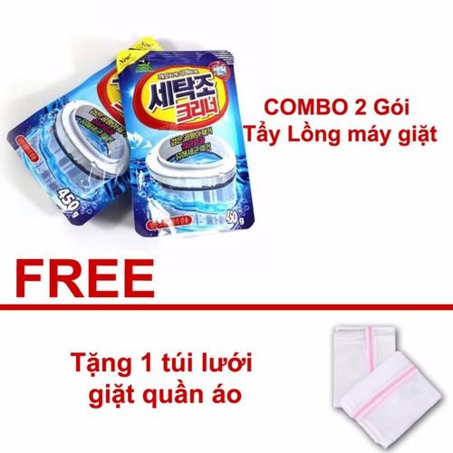 COMBO 2 Gói Bột tẩy vệ sinh làm sạch lồng máy giặt Hàn Quốc - Tặng1 túi lưới giặt quần áo