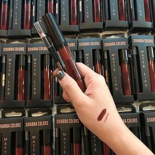 Set son kem lì Sivanna Colors Matte Lips Thái Lan No.11 Đỏ mận